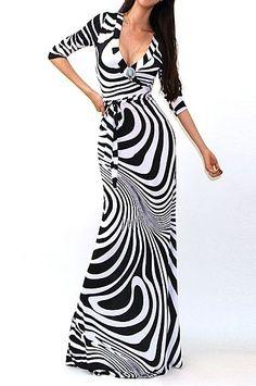 BLACK & WHITE Jersey Faux Wrap MAXI DRESS Long Skirt CHIC Travel CRUISE S M L #tamarstreasures #WrapDress #Clubwear