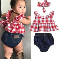 Baby Girl Clothes 3Pcs Outfits Set Dress Tops+Denim Pants+Headband $14.99