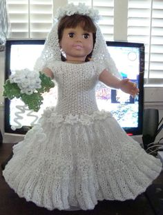 Ladyfingers - AG doll - Wedding Gown, Veil, Garter, Bridal Bouquet free knitting pattern