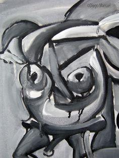"""Toro cubista"", acrylic on canvas, 95 x 75 cm. , 1998."