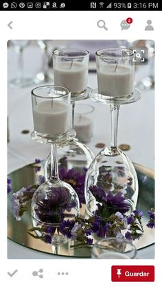 2 centerpieces like this with pale pink or white flowers.