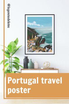 #portugal #travelart #wallart #ocen #sea #homedecor Paris Illustration, Travel Illustration, Digital Illustration, Dinning Room Wall Decor, Room Decor, Wall Art Prints, Poster Prints, Flat Interior, Nature Posters