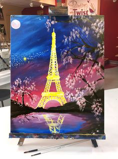 How to Paint Paris Under a Pink Moon at a Painting with a Twist night out! Disney Canvas Paintings, Acrylic Painting Canvas, Canvas Art, Paris Drawing, Eiffel Tower Painting, Paris Painting, Paris Art, Beautiful Paintings, Painting Inspiration