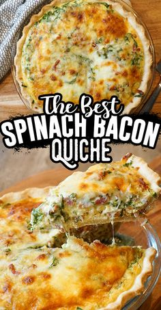 Bacon And Cheese Quiche, Spinach Quiche Recipes, Healthy Quiche Recipes, Breakfast Time, Breakfast Recipes, Easy Breakfast Quiche Recipe, Spinach And Eggs Breakfast, Best Brunch Recipes, Quiches