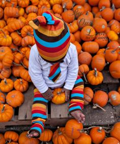 KOOL KID Autumn Stripes Hat and Leg Warmer by mamarunswithscissors, $20.00