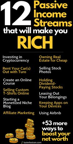 Looking for passive income streams that will truly make you rich? These 12 money makers in this mega list are exactly what you need. 53 extra money methods are included to boost your net worth. - Earn Money at home How To Get Money, Make Money From Home, Money Fast, Passive Income Streams, Streams Of Income, Business Money, Business Ideas, Investing Money, 30 Day Challenge
