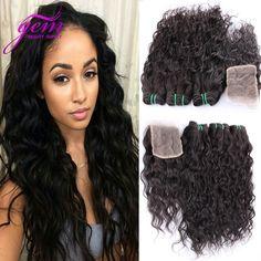 Online Shop Peruvian Virgin Hair With Closure 4pcs Lot Peruvian Water Wave Hair Bundles with Lace Closures Peruvian Curly Hair With Closure|Aliexpress Mobile