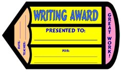 "FREE DOWNLOAD:  ""Writing Award Certificate.""  Use this free award certificate to recognize your students' hard work, achievement, or improvement in writing.  Download this free writing award certificate on Unique Teaching Resources:  http://www.uniqueteachingresources.com/creative-writing-teaching-resources.html (FREE!)"