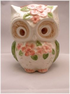 I can't get over how cute you are! Owl Ceramic  Bank Vintage Home Decor  in by Angelheartdesigns.