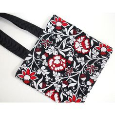 SALE Floral Black Red Tote Bag Light Traveler Bag Birthday Gift Bag... ($12) ❤ liked on Polyvore featuring bags, handbags, tote bags, totes, etsy, gym bag, tote handbags, evening handbags, red tote and red shoulder bag