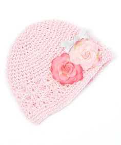 Loving this Light Pink Crocheted Rose Beanie on #zulily! #zulilyfinds