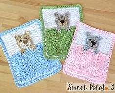 Ravelry: Sleep Tight Teddy Bear Blanket / Lovey pattern by Christins from My Sweet Potato 3