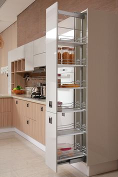 pull out basket_oppein Kitchen Pantry Design, Kitchen Organisation, Diy Kitchen Storage, Modern Kitchen Design, Home Decor Kitchen, Interior Design Kitchen, Kitchen Furniture, Home Kitchens, Kitchen Tall Units