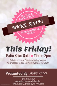 ValentineS Bake Sale Poster Flyer Social Media Template