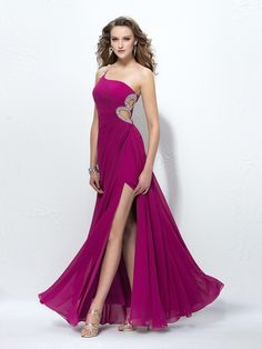 Cheap Long Prom Dresses,A-line One Shoulder Party Dresses,Chiffon Ankle-length Formal Evening Dress