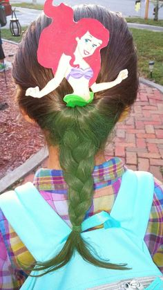 Ariel Hair for Crazy Hair Day (hand painted Ariel portion from Candyland Bowtiqu. Ariel Hair for C Crazy Hat Day, Crazy Hats, Crazy Socks, Crazy Hair For Kids, Crazy Hair Day At School, Little Girl Hairstyles, Cute Hairstyles, Vikings Hair, Candy Land Party