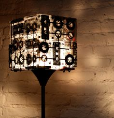 CASSETTE TAPES FLOOR LAMP  hmmm, I could maybe do something like this. sure have plenty of old cassettes laying around.
