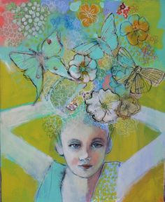 Daydreams, mixed media painting by Maria Pace-Wynters