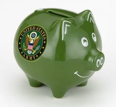 Make More Cents presents our United States Army Piggy Bank. High gloss finish with white accents and the US Army symbol. A great gift for a ...