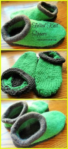 Step-by-step instructions on how to felt a pair of knitted slippers for the most comfortable, custom fit slippers you will ever own! ~ ThisScatteredLife.com