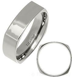 6mm Polished Square Titanium Ring
