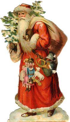 Chromo Die-cut.Scrap: Santa with Sack, Toys & Tree | eBay