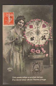 DISEUSE de BONNE AVENTURE / VOYANTE & ROUE DE L'AVENIR - ancienne carte postale