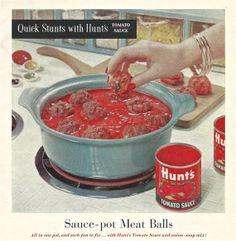 Vintage Advertising 1950s HUNT'S TOMATO SAUCE Print by ACMEVintageLimited   #vintage #advertising #1950s #tomato #pasta #hunts