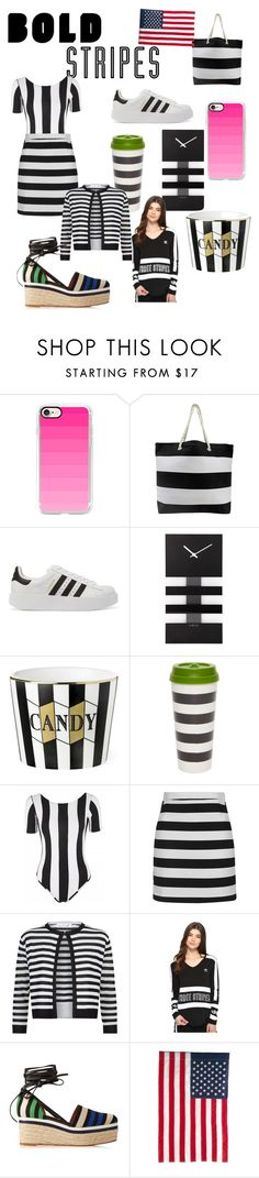 """""""Bold stripes"""" by mariahhh17 ❤ liked on Polyvore featuring Casetify, adidas Originals, NeXtime, Kate Spade, Motel, Topshop, Damsel in a Dress, Lanvin and Evergreen Enterprises"""