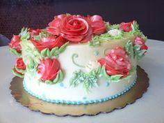 Simple birthday cake with flowers