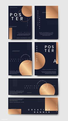 Navy blue poster template vector set | premium image by rawpixel.com / Kappy Kappy