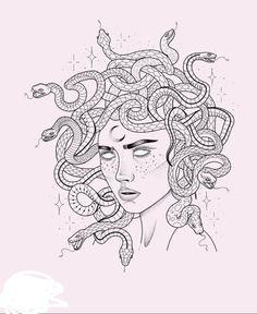 Simplistic Tattoos, Pretty Tattoos, Sketches, Medusa Tattoo, Art Tattoo, Trippy Painting, E Tattoo, Symbolic Tattoos, Minimalist Artwork