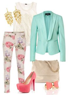 Floral pants and turquiose blazer
