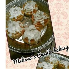 Melissa's Candle bakery #candles #handcrafted #desserts #wax #local #shopsmall #Art #Cinnamon #rolls #Buttercream #frosting