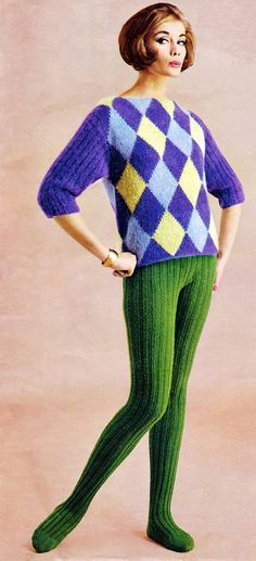 1960s knitted rib tights.  YES! to the tights but  NO! to the sweater... Lol