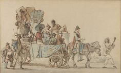 Artistes dramatiques en voyage Artist: Eugène Delacroix (French, Charenton-Saint-Maurice 1798–1863 Paris) Date: ca. 1818 Medium: Pen and brown ink and brush and brown wash and watercolor over black chalk