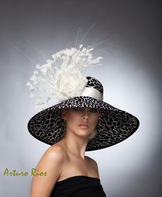 Couture Black and White Brim Hat with  White Satin Band and Bow ...Flowers and Feathers