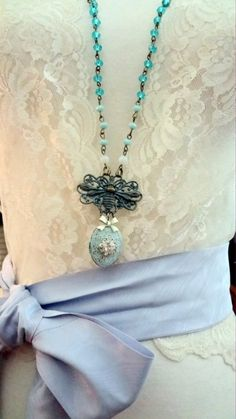 Bumble Bee, Verdigree Locket Necklace with hand made Rosary Chain Necklace  36 inches long, with 2.5 inch drop...by BerthaLouiseDesigns