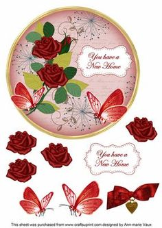 Red Rose New Home 7in Circle Decoupage Topper on Craftsuprint - Add To Basket!