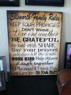 Family Rules Subway Art - new picture!! The image on a canvas frame!