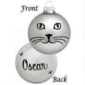 Personalized Cat Face on Grey Glass Ornament  border - I think this would be fairly easy to design myself. Very cute.