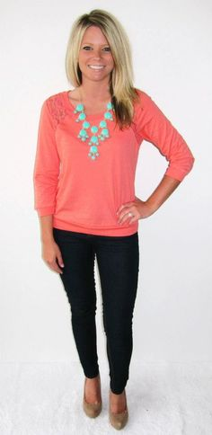 Coral lace sweatshirt for $24, dark skinny jeans for $40 and mint bubble necklace for $30.