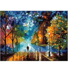 Abstract Painting Night Streetscape Needlepoint Canvas