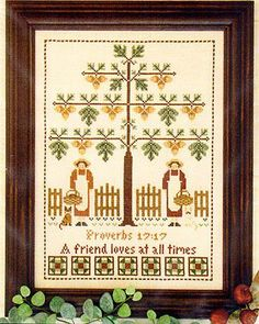 I love this pattern for the message and the acorns! The pattern uses DMC threads.