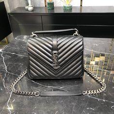 Ysl Saint Laurent college medium chain shoulder bag black Saint Laurent Bag, Chain Shoulder Bag, Ysl, Chanel Boy Bag, Saints, College, Medium, Bags, Handbags