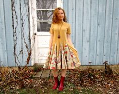 L-XL Upcycled Vintage Camel Multi Colored Velvety Swing Dress// Altered Clothing// Reconstructed Dress// emmevielle by emmevielle on Etsy https://www.etsy.com/listing/488188634/l-xl-upcycled-vintage-camel-multi