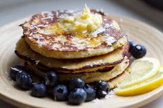 Paleo Coconut Banana Pancakes With Lemon Butter & Blueberries | Eat Drink Paleo