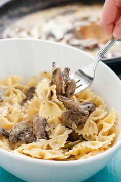 Portobello+Mushroom+Pasta+with+Cream+Sauce