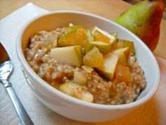 Brown Sugar and Cinnamon Steel Cut Oats with Pears and Crystallized Ginger (cooking time is more like 40 minutes; made for portions; add milk when eating)