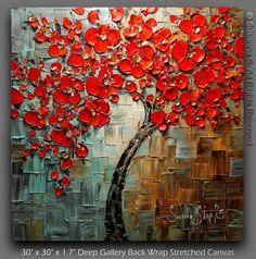 ORIGINAL gran árbol rojo abstracto pintura de por ModernHouseArt